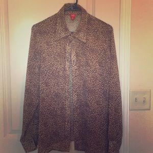 Tops - Sheer Leopard Button Up